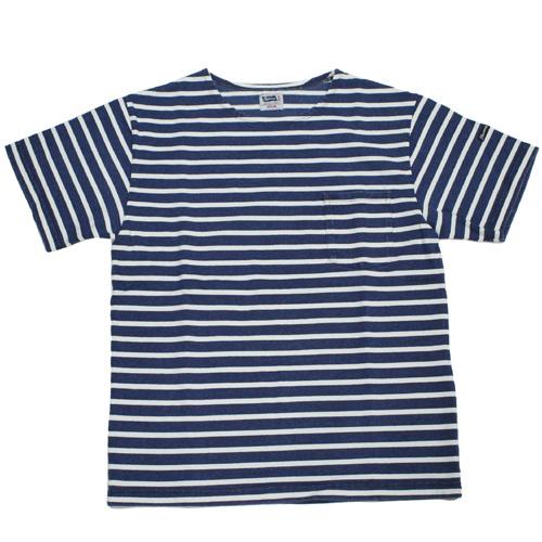 Pherrow's(フェローズ) ボーダーインディゴ染めポケットTシャツが入荷