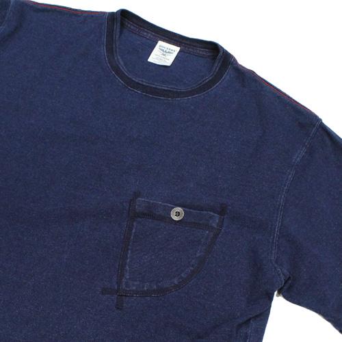 HOUSTON(ヒューズトン)インディゴ染めポケットTシャツ